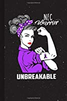 NEC Warrior Unbreakable: Necrotizing Enterocolitis Awareness Gifts Blank Lined Notebook Support Present For Men Women Purple Black Ribbon Awareness Month / Day Journal for Him Her