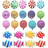 "AnnoDeel 21 pcs 18"" Sweet Candy Balloons, Round Lollipop Balloon for Baby Birthday Wedding Party Balloons"