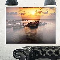 """デザインアートSunset Over African Seashoreオーバーサイズビーチメタル壁アート 28x12"""" MT11021-28-12"""