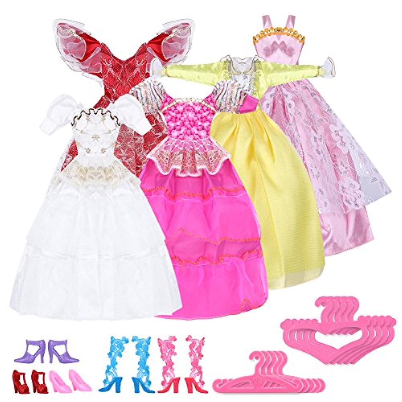 ReFaXi バービー 人形の15のアクセサリ 5ペア 靴 +5 とドレス+5ハンガー  プレゼント おもちゃ
