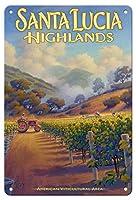 22cm x 30cmヴィンテージハワイアンティンサイン - サンタ・ルチア・ハイランズ・ワイナリー - Boekenoogenワイナリー - セントラルコーストAVAブドウ園 - カリフォルニアワインカントリーアート によって作成された カーン・エリクソン