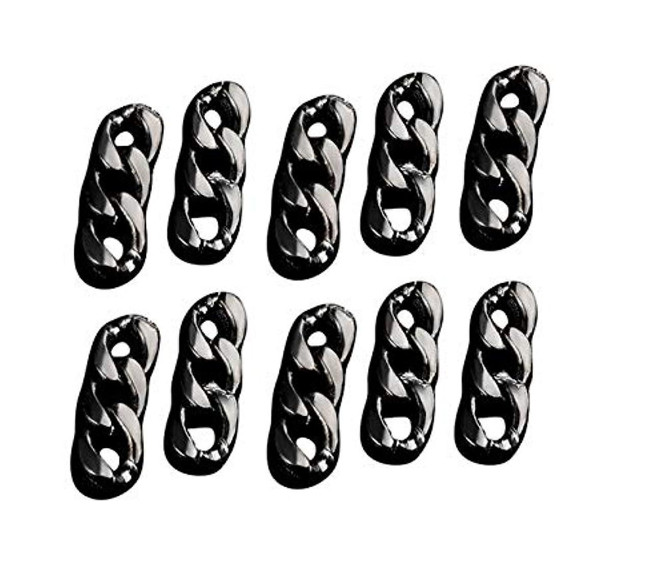 パースブラックボロウ副ガイドラインTianmey ネイルメタルチェーン、ゴールドとシルバーチェーンネイル装飾チェーンネイルメタルデコレーションネイル3Dネイルアート (Color : Black)