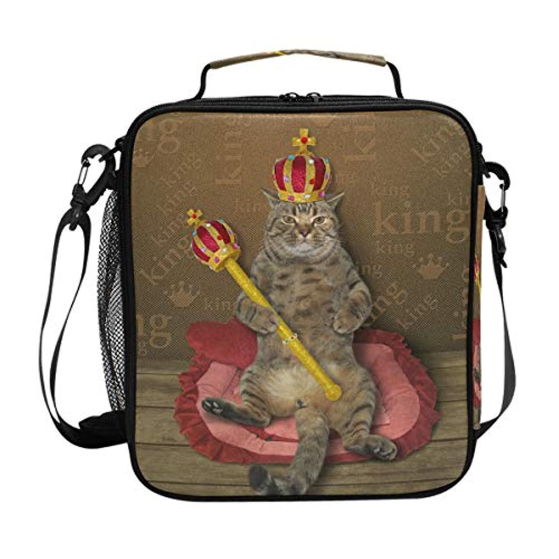 VAWA ランチバッグ お弁当バッグ 猫柄 保冷バッグ 保温 かわいい お弁当袋 大容量 弁当箱 ランチボック 防水 食品収納 通勤 通学 高校生 子供用 面白い 国王の猫