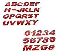 カースタイリングA-Z / 0-9 3Dメタルカラフルな文字EmblemDIY車のステッカーバッジオートロゴアクセサリーオートバイステッカー:レッド、O