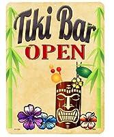 ティキ バー オープン Tiki Bar OPEN 当店Sサイズ アメリカンブリキ看板