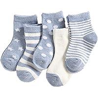 Dejian 5 Pairs Newborn Baby Non Skid Cotton Socks 0-3 Year Toddler Anti Slip Stretch Knit Stripes Star Sneakers Infant Socks