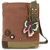 "Chala Womens' Canvas Patch Crossbody Handbag""New Butterfly"" - Mauve"