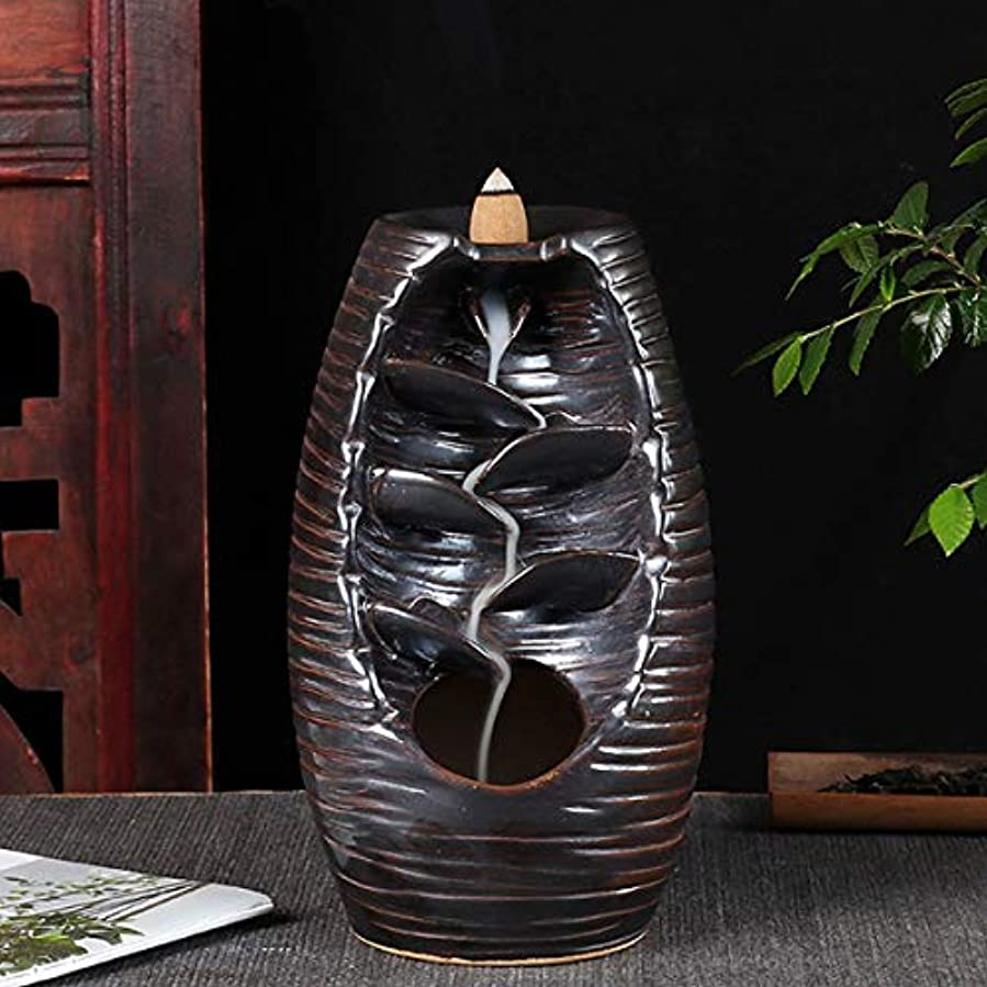 インセンティブ宿印刷するVosarea 逆流香バーナー滝香ホルダーアロマ飾り仏教用品(黒)