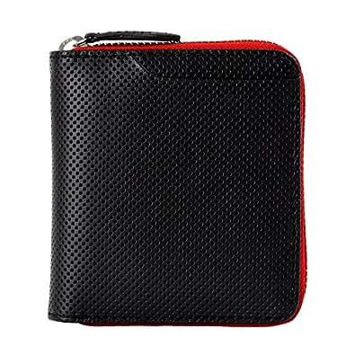 (ミラグロ) Milagro パンチングレザー ラウンドファスナー 二つ折り財布 二つ折り財布 box型小銭入れ 本革 (レッド) bt-ws20