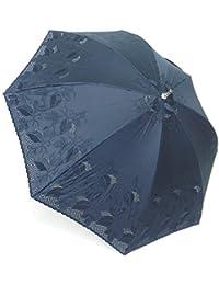 日本製 高級傘 純パラソル 日傘 上品な 綿サテン 3インチ エンブ 葉柄 47cm ショート傘