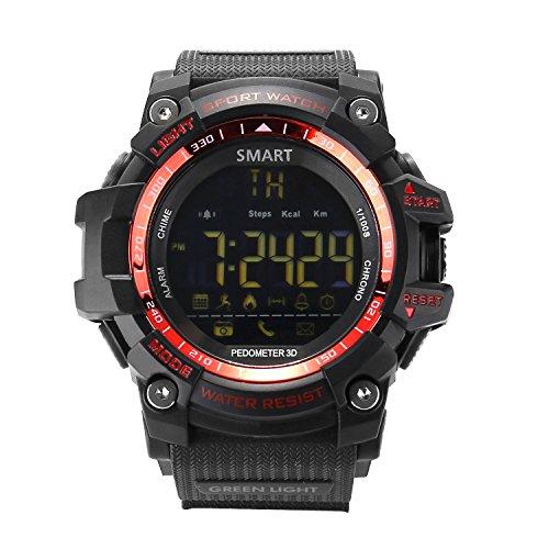 アウトドア用、防水性能、IP67ブルートゥース、運動用腕時計、あなたの健康を常に監視、AndroidとIOS兼用可能なスマートウォッチ、スマートフォン(赤い) (赤)