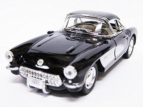 1957年式クラッシックカー シボレー コルベットのミニカー/ブラック 1/34サイズ(13cm)ア...