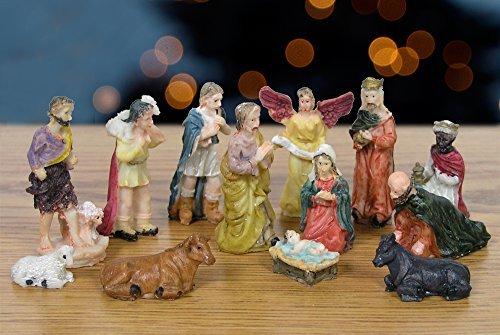 Nativity Set figures - 13ピース、イエスは、メアリー、ジョセフ、ベビーin Manger、エンジェル、Wisemen、Shepherds、と動物