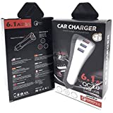 Fast USB Charger Car 3 Ports 6.1A car Charger qc 3.0 Super Fast for Mobile Phone Charging White