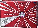 Callaway(キャロウェイ) ゴルフボール CHROME SOFT TRUVIS ゴルフボール(1ダース12個入り)2017年モデル ボールカラー:ホワイト/ピンク  6421253122144 ピンク カバー:極薄ソフトウレタン コア(2層):デュアル・ソフト・ファスト・コア