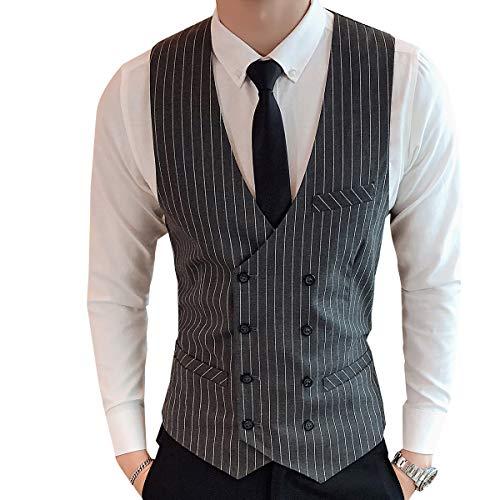 CEEN メンズ スーツベスト 上品 おしゃれ チェック柄 スーツ仕立て ストライプ Vネック ビジネス ダブルボタン カジュアル フォーマル 細身 ジレベスト 紳士