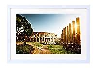 コロッセオ、イタリア、建築、廃墟、日- 木製の白色のフォトフレーム - 壁の絵 壁掛け ソファの背景絵画 壁アート写真の装飾画の壁画 旅行 風景 景色 - (60cmx40cm)