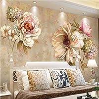 Weaeo ヨーロッパのVintag3Dフラワー写真壁紙の壁紙風景壁画のリビングルームのベッドルームの壁の装飾抽象絵画壁画-280X200Cm