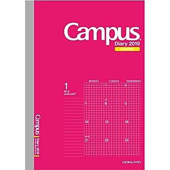 コクヨ キャンパスダイアリー 手帳 2019年 A5 マンスリー ピンク ニ-CMSP-A5-19 2018年 12月始まり