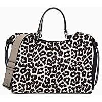 Calvin Klein Callie Snow Leopard Haircalf Knotted Satchel