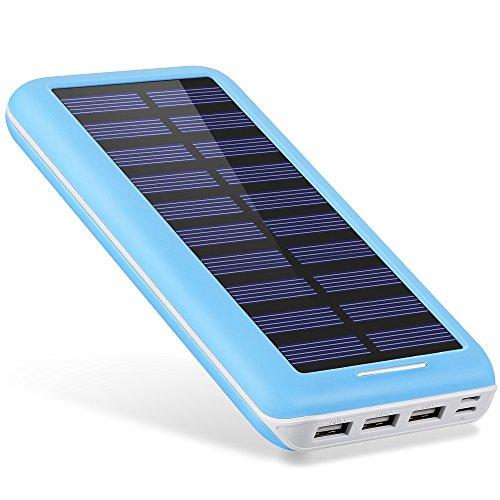 AKEEMTECH ソーラーチャージャー 22000mAh モバイルバッテリー 太陽光で充電でき 3台同時充電(Blue)