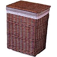 リッドラタンランドリーバスケットコットンバーリップライニング家庭汚れたハンパー服雑貨屋内保管バスケット (色 : B, サイズ さいず : 37 * 27 * 47cm)