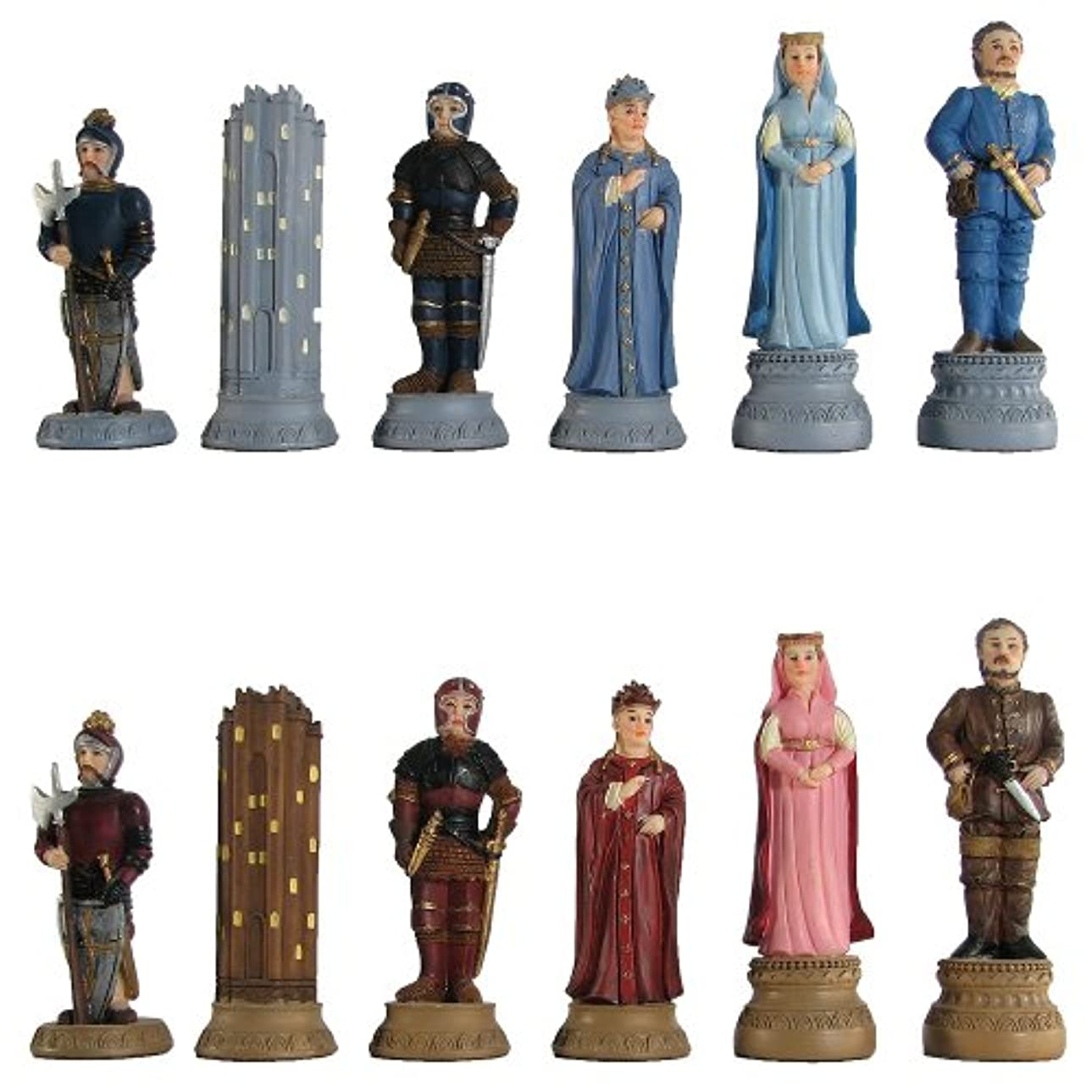 Medieval Hand Painted Polystone Chess Pieces