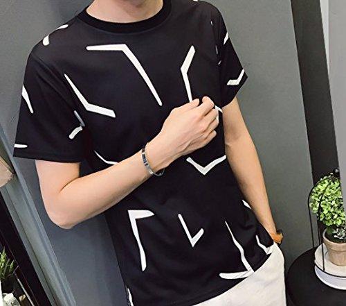 (リスキス) riskiss シンプル モノトーン モード 系 きれいめ 白黒 T シャツ 柄 黒 白 M L XL (L, 黒)