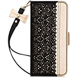 Samsung S10 Case, WWW Galaxy S10 Wallet Case [Luxurious Romantic Carved Flower][Inside Makeup Mirror][Kickstand Function] PU Leather Flip Cover for Samsung Galaxy S10 6.1 Inch 2019 Black