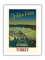 イスタンブール、トルコ - ゴールデンホーン、水路 - スレイマニエモスク - ビンテージな世界旅行のポスター によって作成された N. Erg?ver c.1950 - プレミアム290gsmジークレーアートプリント - 30.5cm x 41cm