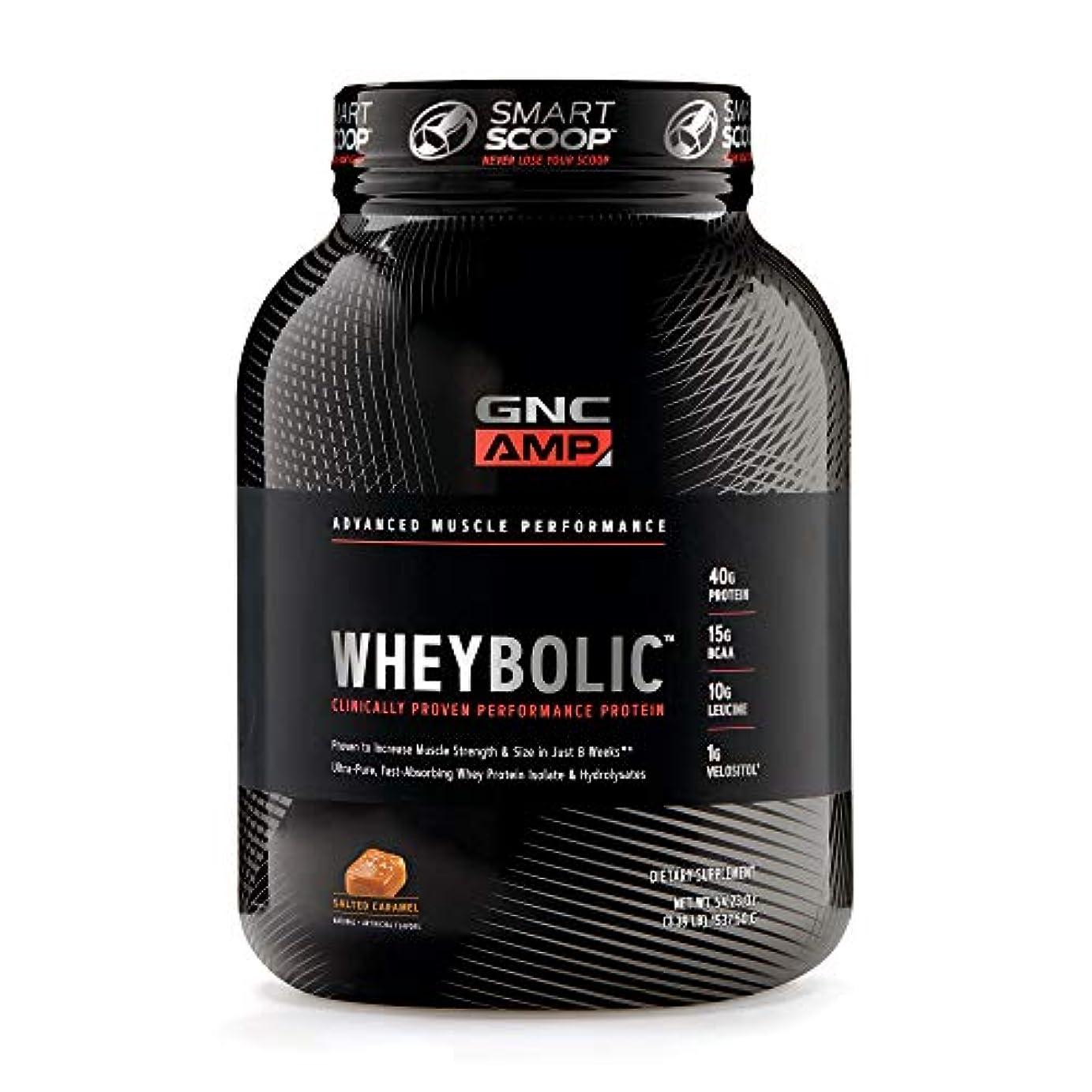 証明する対処する毎回[GNC AMP] 乳清タンパク質パウダー、塩キャラメル、25人前、40タンパク質、15g BCAA、10gのロイシン1食分を含む 1537.5g [WHEYBOLIC™]