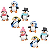 NUOBESTY Cute Penguin Characters Toys Mini Penguin Figure Collection Playset, Penguin Cake Topper, 8 Pieces
