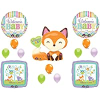 Welcome Baby Woodland FriendsシャワーBalloons Decoration Supplies Fox Chevron by Anagram