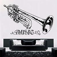 Lcymt トランペット音楽ウォールステッカー取り外し可能な音楽スタイル壁飾りコンサート装飾デザインビニールトランペットアート壁画の装飾57×36センチ