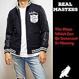 (リアルマスターズ) REAL MASTERS スタジャン 袖革 メルトン ブラック×ブラック 黒×黒 M