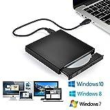 Blingco 外付けCDドライブ、USB2.0 超薄型 ポーダブルなDVD+R, DVD-R, CD-ROM, DVD-ROM, CD-R, CD-RWレコーダー CD-RW/DVD-R外付けプレイヤー光学式USB2.0記録型ドライブ ノートパソコン、ラップトップ PCに適合 Windows 2000/XP/Vista/Windows 7 Mac OS( 全てのバーション)対応可 ブラック