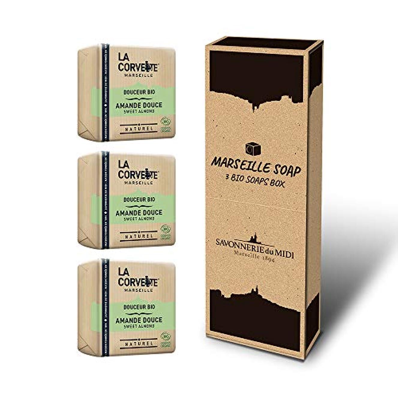 所有者ペネロペ木材マルセイユソープ 3BIOSoaps BOX (スウィートアーモンド)