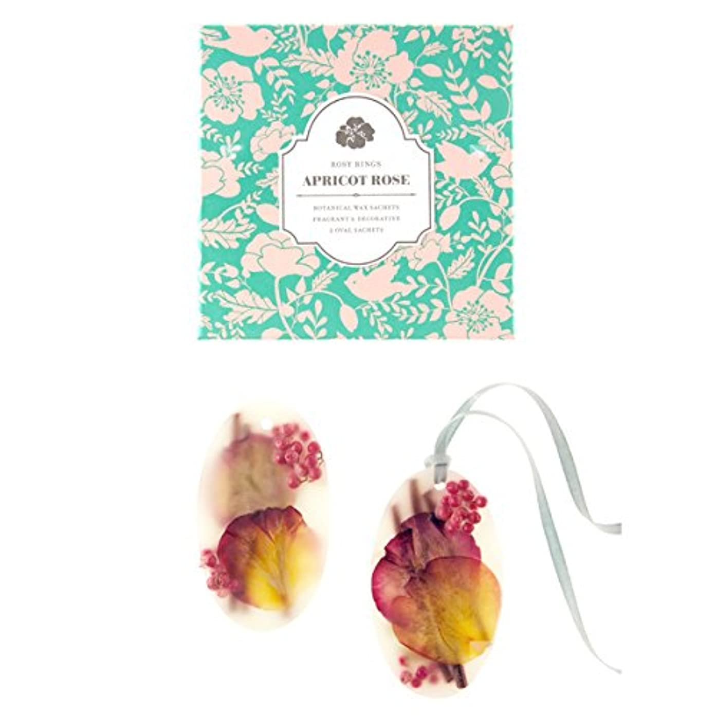 ダーツテレックス目の前のロージーリングス ボタニカルワックスサシェ オーバル アプリコット&ローズ ROSY RINGS Signature Collection Botanical Wax Sachets – Apricot Rose