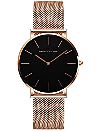 VOGUELADY レディース クラシック アナログ クオーツ 腕時計 ステンレス鋼 メッシュ バンド エレガント 超薄型 ローズゴールド ブラック