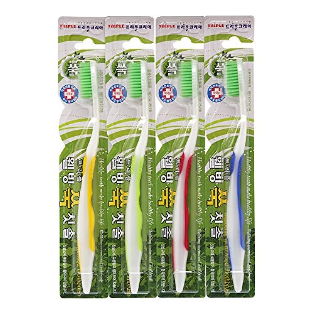 本物の第注釈TRIPLE KOREA ウェルビーイングよもぎグ歯ブラシ4本セット よもぎ成分配合 極細毛 抗菌毛