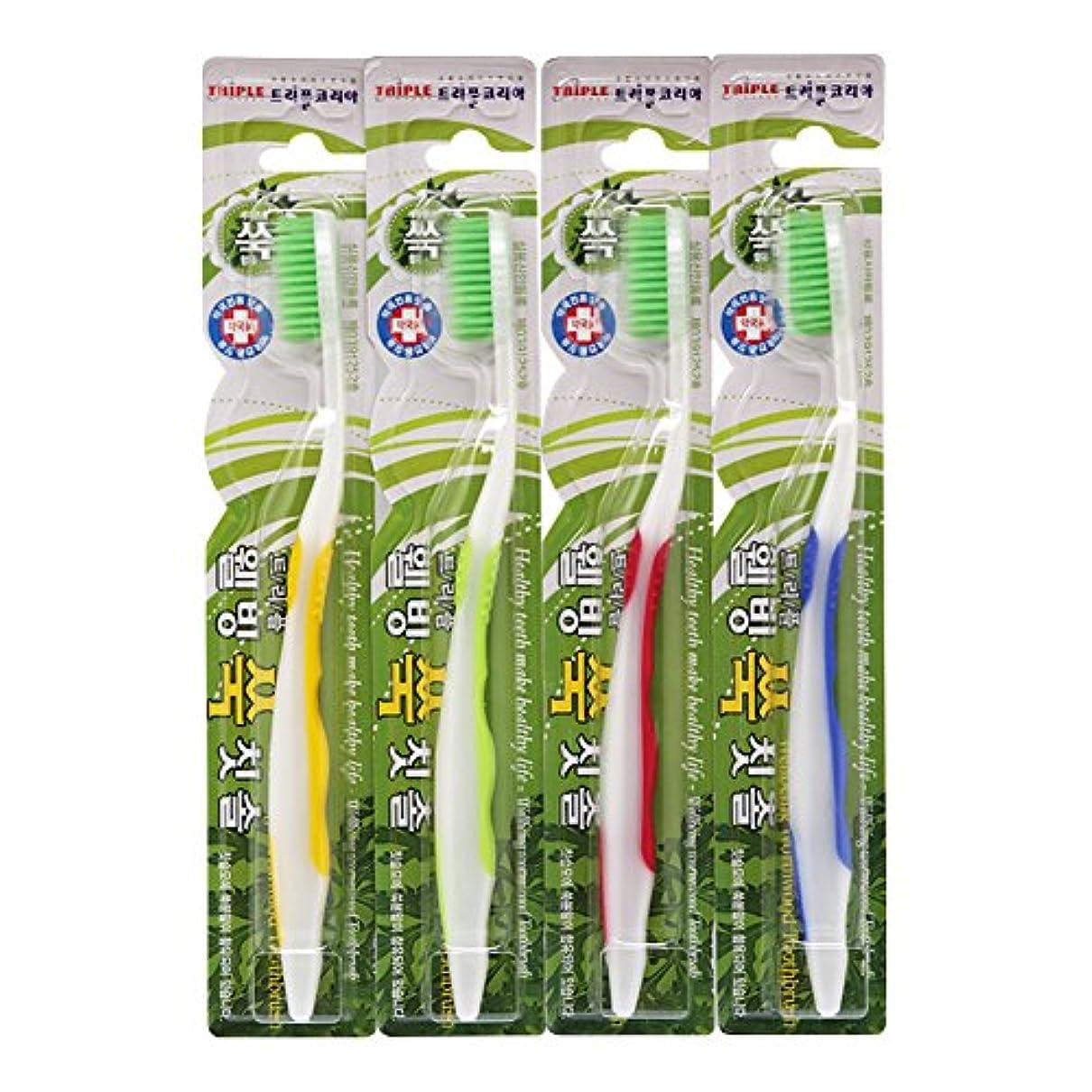 成功するよりすり減るTRIPLE KOREA ウェルビーイングよもぎグ歯ブラシ4本セット よもぎ成分配合 極細毛 抗菌毛