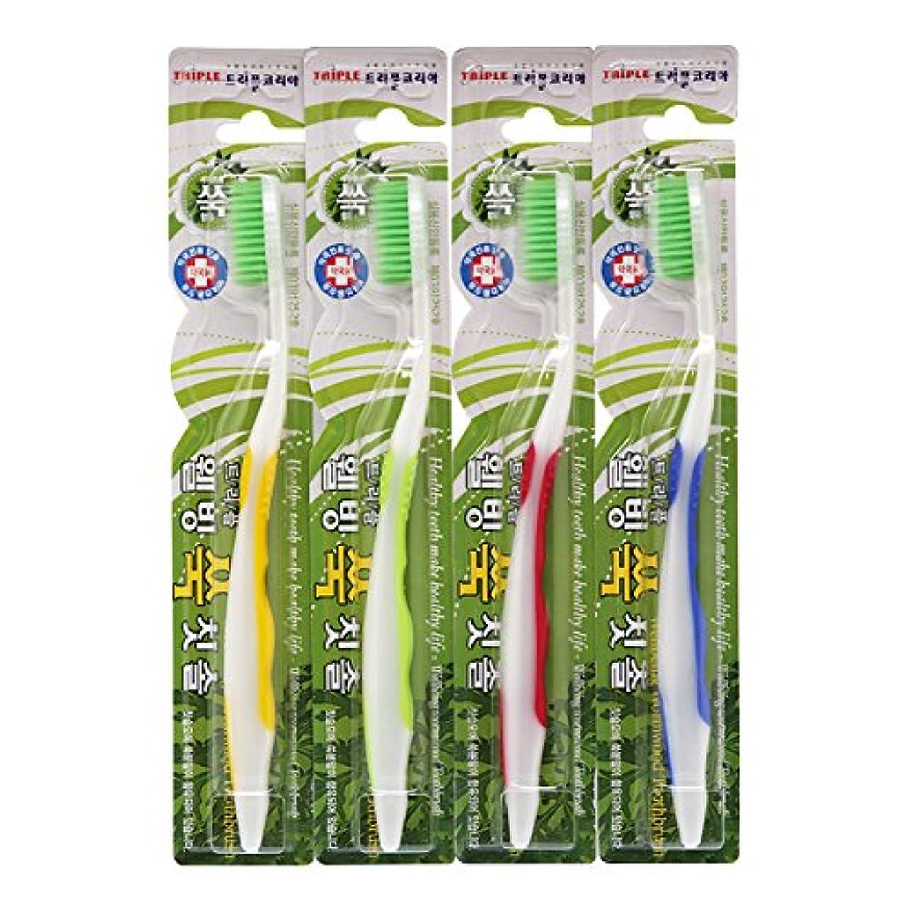 下線上下する改善TRIPLE KOREA ウェルビーイングよもぎグ歯ブラシ4本セット よもぎ成分配合 極細毛 抗菌毛