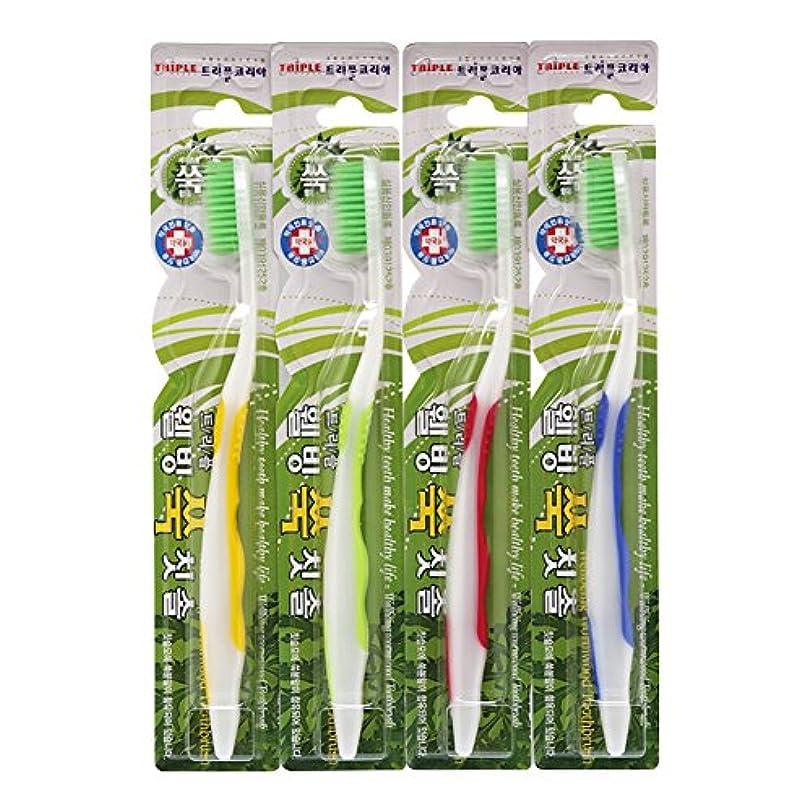 吹雪ボイド操るTRIPLE KOREA ウェルビーイングよもぎグ歯ブラシ4本セット よもぎ成分配合 極細毛 抗菌毛