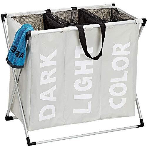 ランドリーバスケット ランドリーボックス 洗濯かご 三段 脱衣かご 折り畳み式 収納袋 防水 衣料品 玩具 大容量 (クリーミーホワイト)