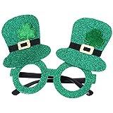 BESTOYARD 2本St Patrick's Dayグリッターシャムロックレプラコーン帽子メガネSt Patrick's Dayコスチュームパーティーギフト