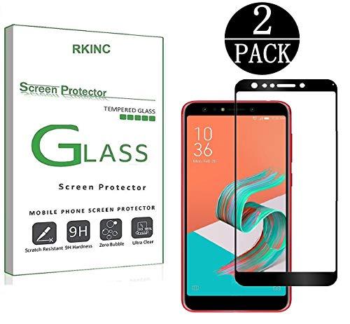 RKINC スクリーンプロテクタAsus ZenFone 5Q ZC600KL用、[2パック]フルカバー強化ガラスクリアスクリーンプロテクター[9H硬さ] [2.5D丸型] [厚さ0.33mm] [耐傷性]Asus ZenFone 5Q ZC600KL、ブ