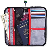 Travel Wallet Organizer For Family - Fully Embedded RFID Blocking Fabric - Zippered Portfolio Pouch for up to 6 Passports