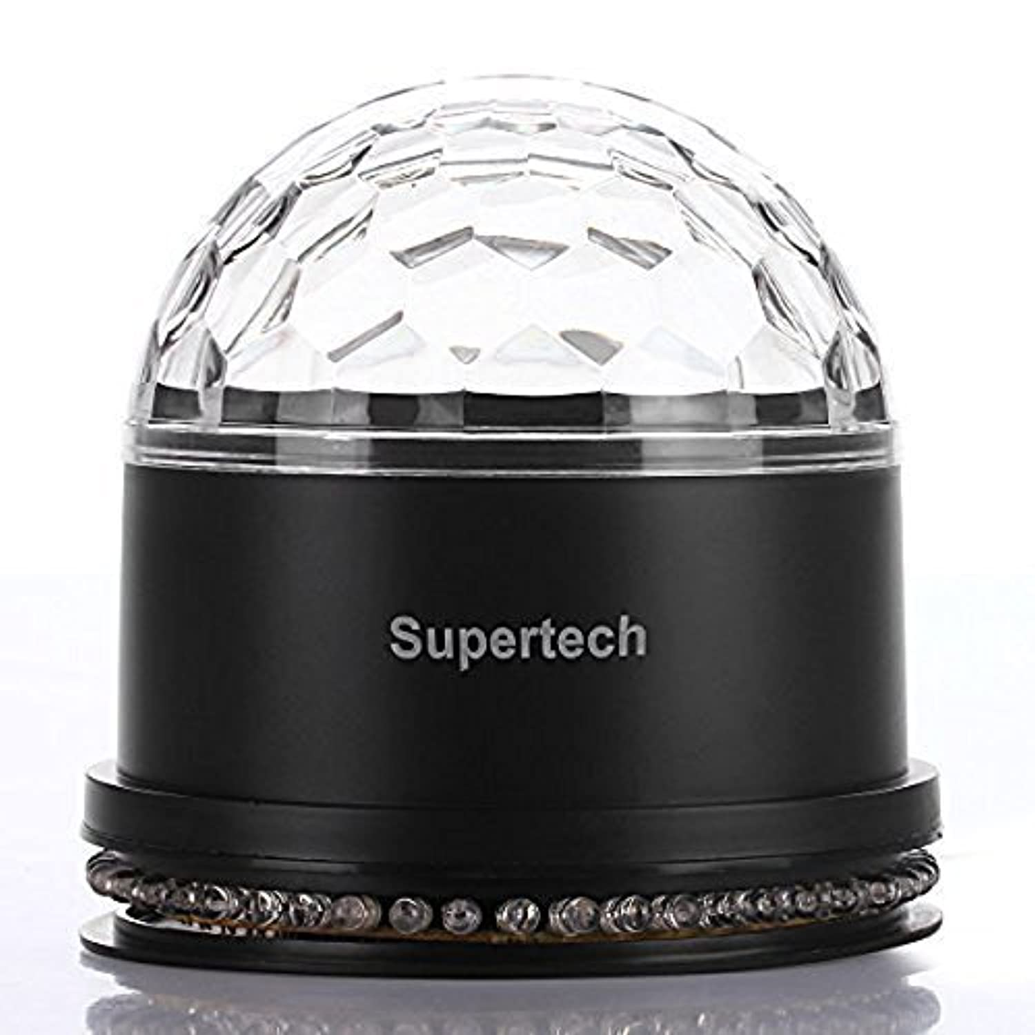 Party LightsSupertech Muliti Color Changes Sound Actived Auto RGB Mini Rotating Magic Disco Ball Strobe Stage Lights For DJ Dancing Show Concert Xmas Halloween [並行輸入品]