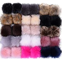 30pcs Faux Fur Pom Pom Balls for Hats, 3.9 inches Fluffy Faux Fox Fur Pom Poms for Hats, Detachable Pompoms with Elastic Loop, Great for Handmade Hats, Beanies, DIY Shoes, Scarves, Bag, Charms