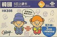【China Unicom】 韓国 5日 データ容量3GB プリペイドSIMカード (1枚)